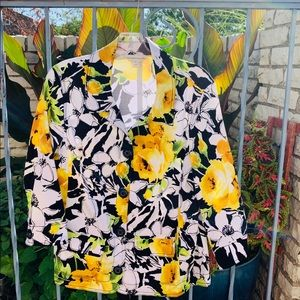 Yellow and black floral jacket M